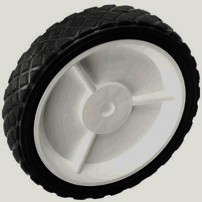 Lawn Mower Wheels--3-Spoke Plastic Wheel and Hub with Rubber Tire