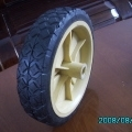 6in x 1.5in solid rubber wheels , plastic rim , lawn mover